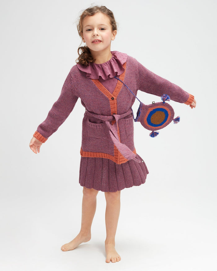 Little oeuf girl belted cardi in mauve + apricot
