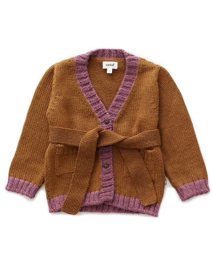 Little oeuf girl belted cardi in olive + mauve