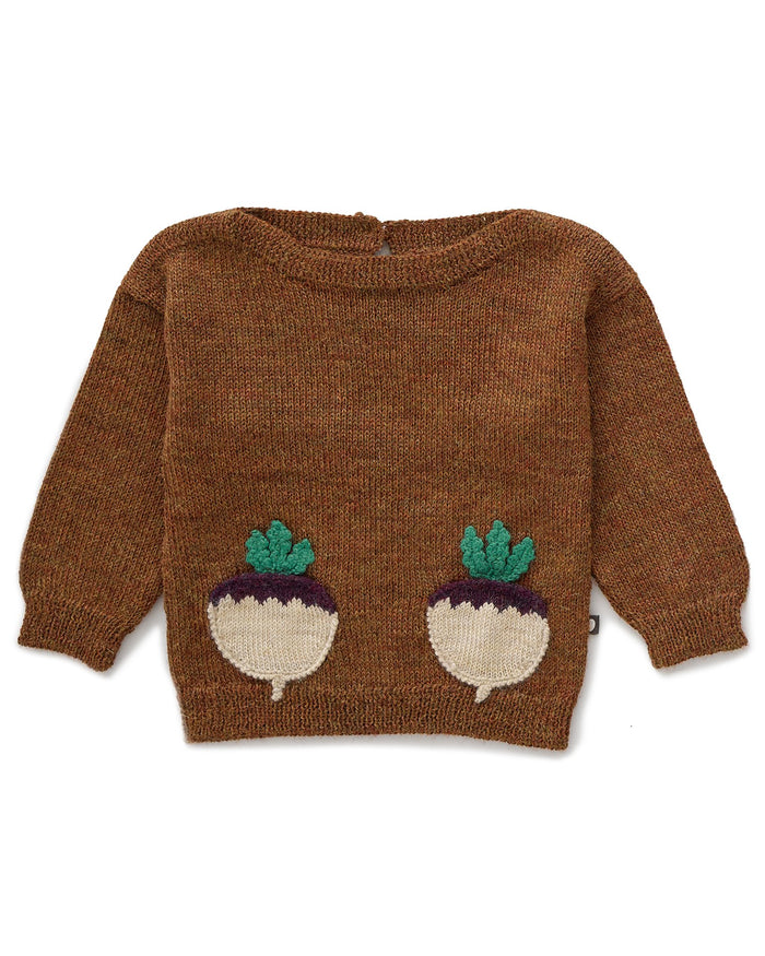 Little oeuf baby girl boatneck sweater in hazelnut
