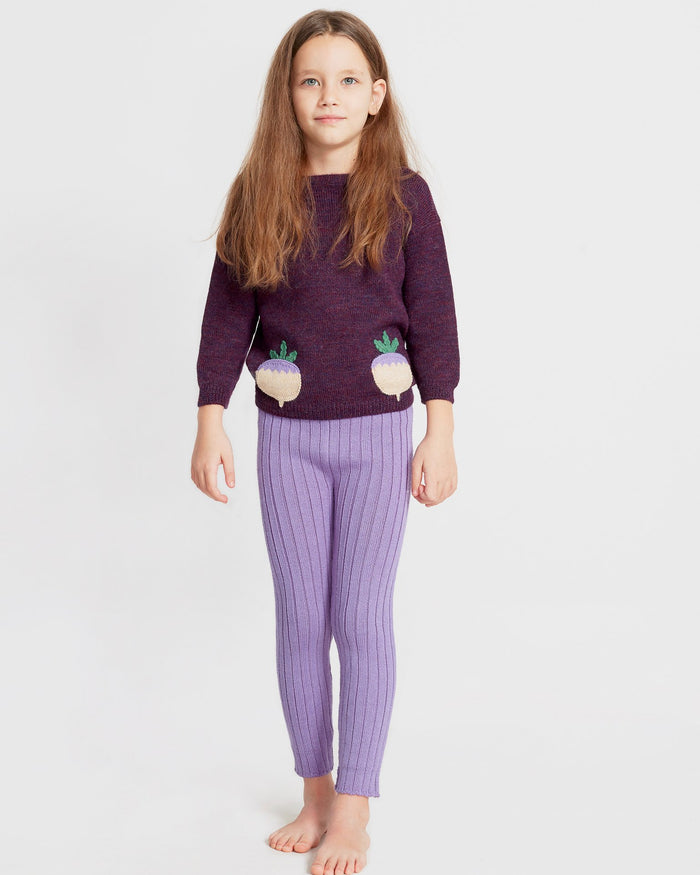Little oeuf baby girl boatneck sweater in mauve