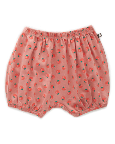 Little oeuf girl bubble shorts in tomato print + coral almond
