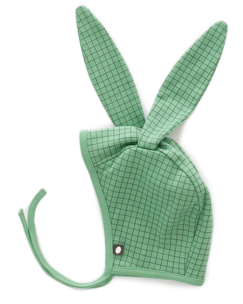 Little oeuf baby accessories bunny hat in green checks