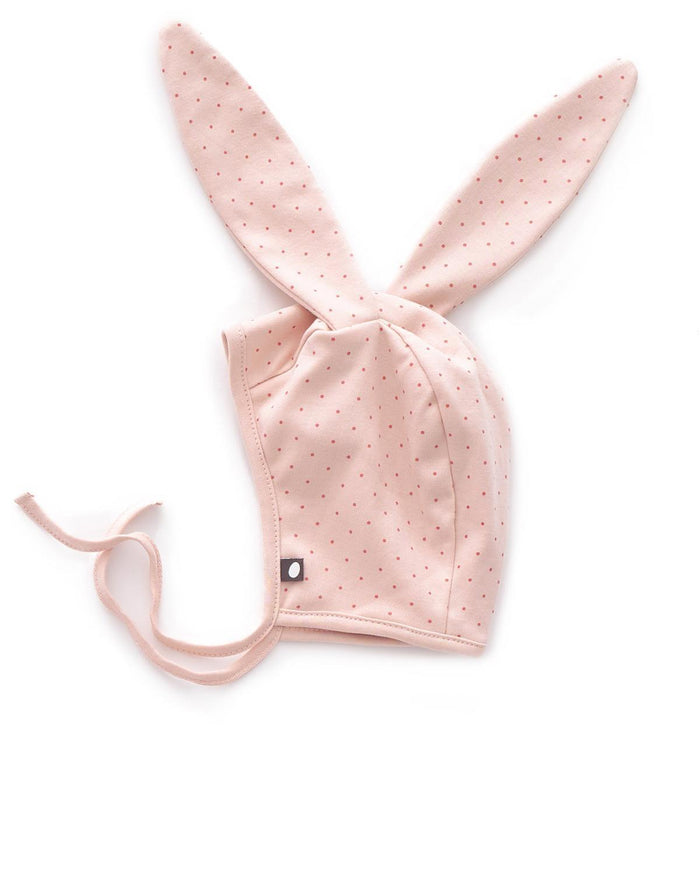 Little oeuf baby accessories 3m bunny hat in light pink + rust dots