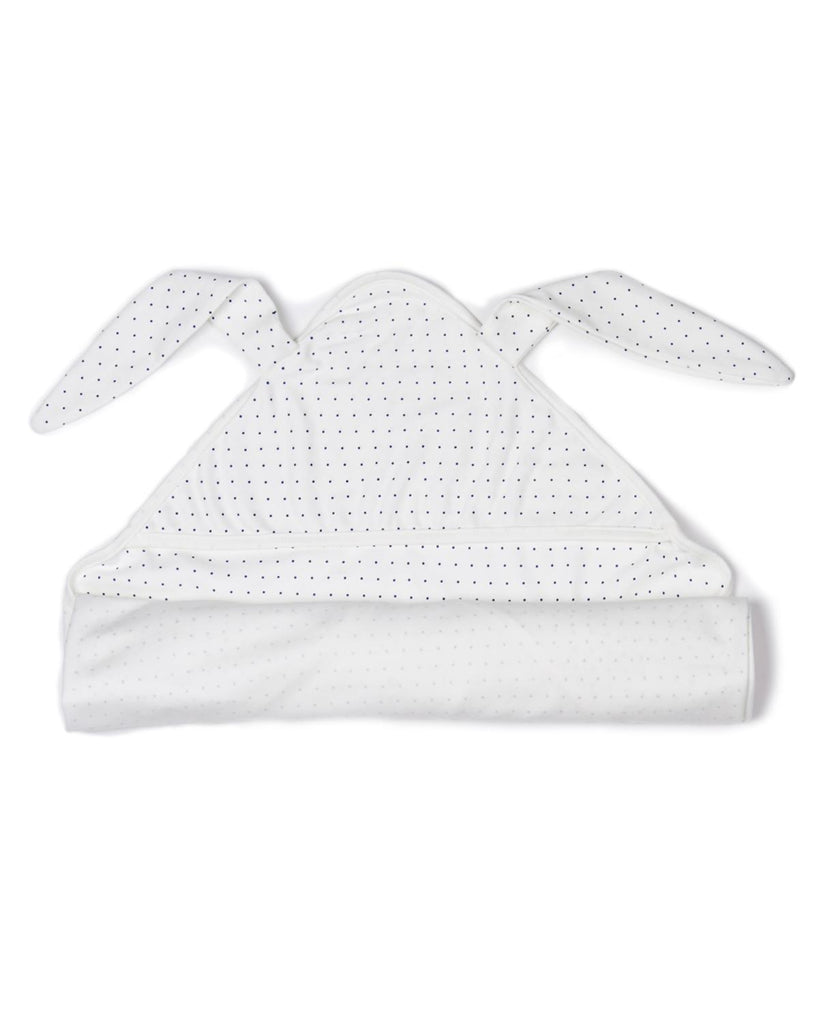 Little oeuf baby accessories Bunny Swaddle in White + Indigo Dots