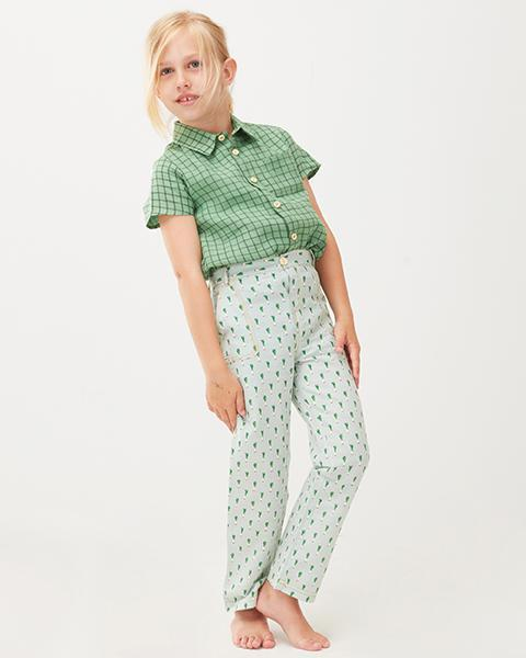 Little oeuf girl button down shirt in green checks