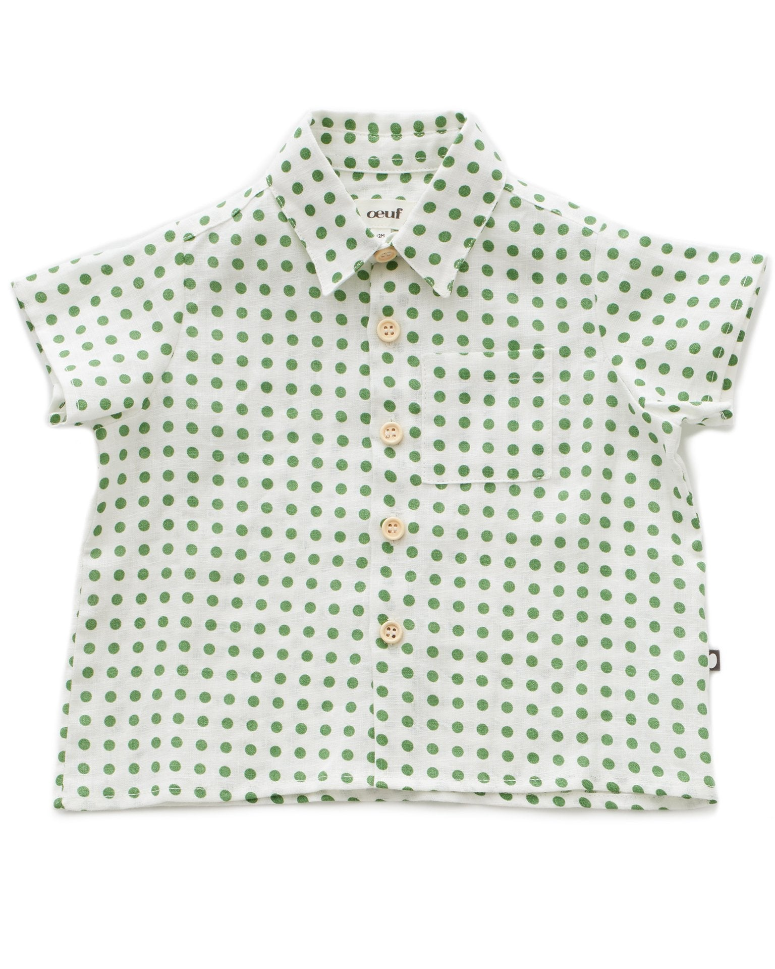 Little oeuf girl button down shirt in green dots