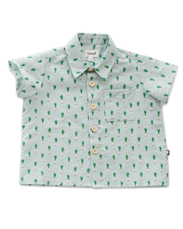 Little oeuf girl button down shirt in leek print