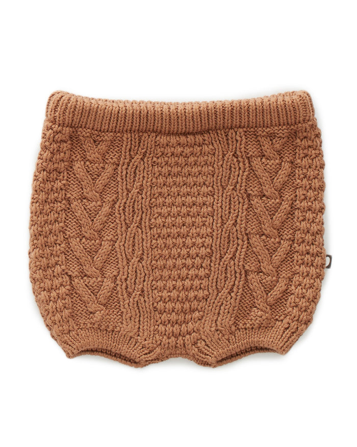 Little oeuf baby girl cable knit shorts in brown sugar