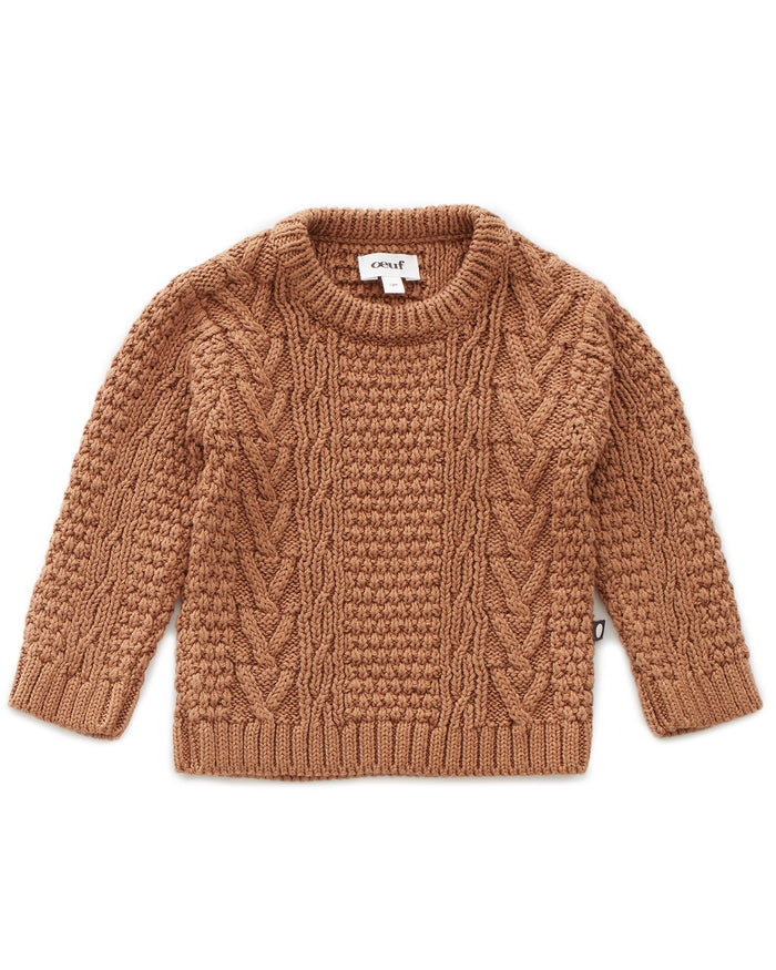 Little oeuf girl cable knit sweater in brown sugar