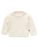 Little oeuf girl cable knit sweater in white