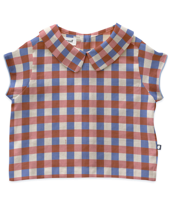 Little oeuf girl cap sleeve top in flamingo pink + gingham