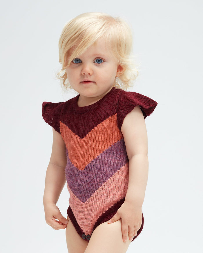 Little oeuf baby girl chevron onesie in burgundy multi