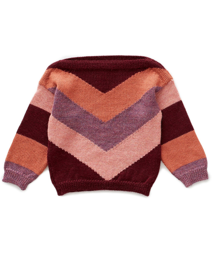 Little oeuf girl chevron sweater in burgundy multi