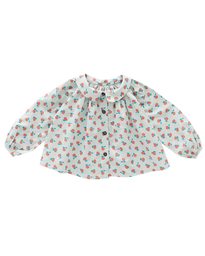 Little oeuf girl clementine blouse in jadeite