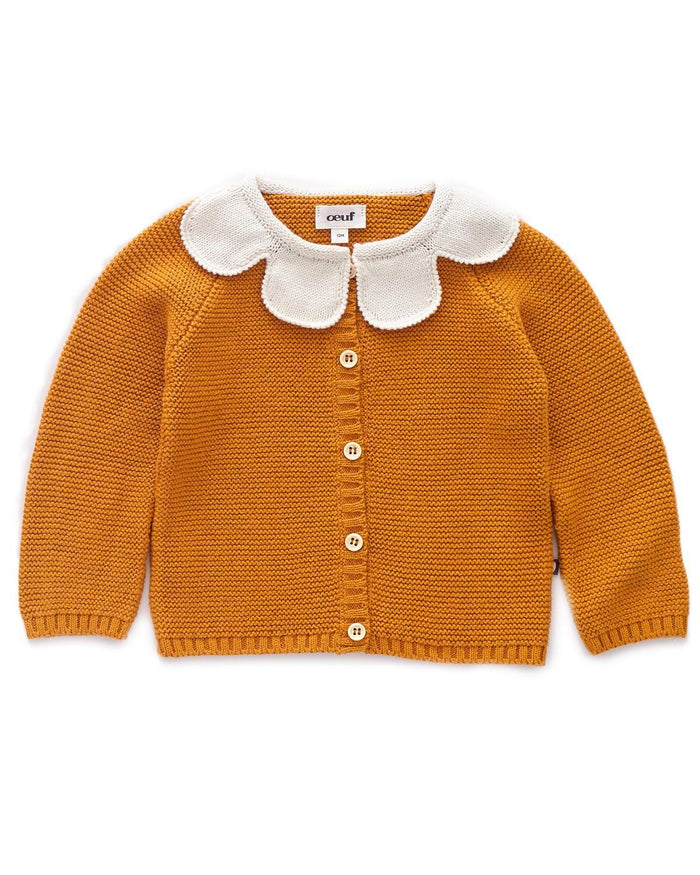Little oeuf girl 2 daisy cardi in ochre + white