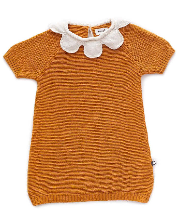 Little oeuf girl 18m daisy collar dreshort sleeve in ochre + white