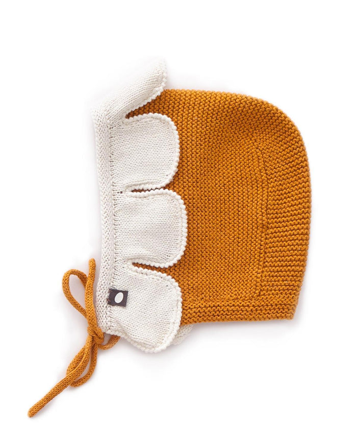 Little oeuf baby accessories 6m daisy hat in ochre + white