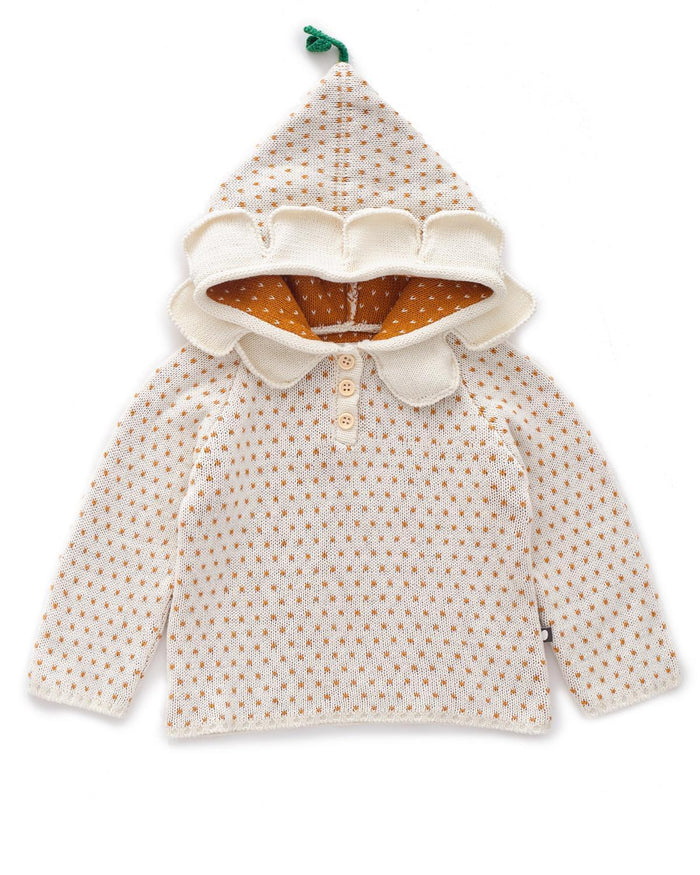 Little oeuf baby girl 12m daisy hoodie in white + ochre dots
