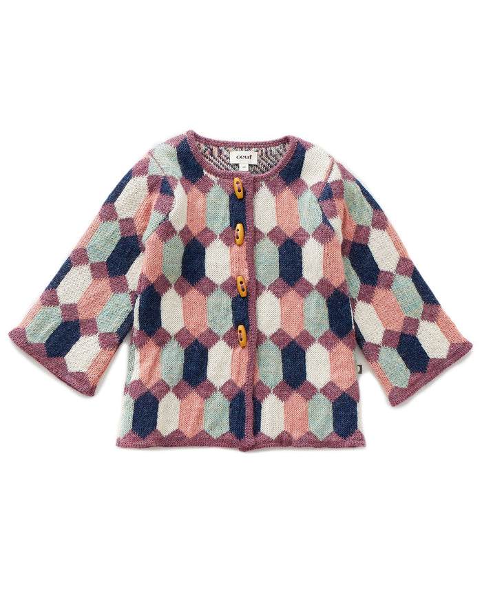 Little oeuf girl diamond pattern coat in ocean multi