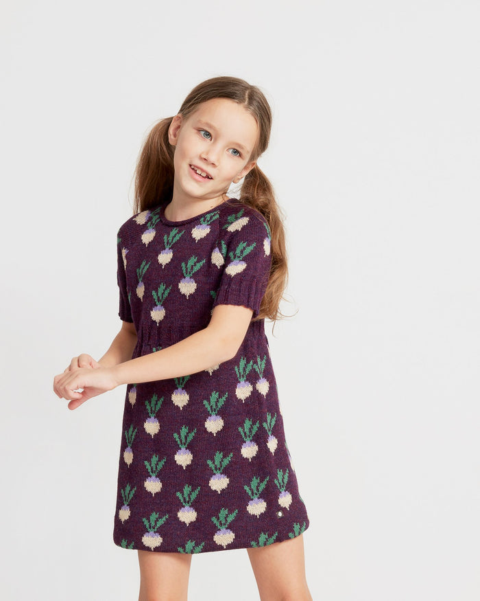 Little oeuf girl double short sleeve dress in mauve