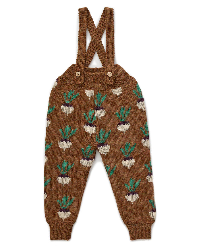 Little oeuf baby girl double suspender pants in hazelnut