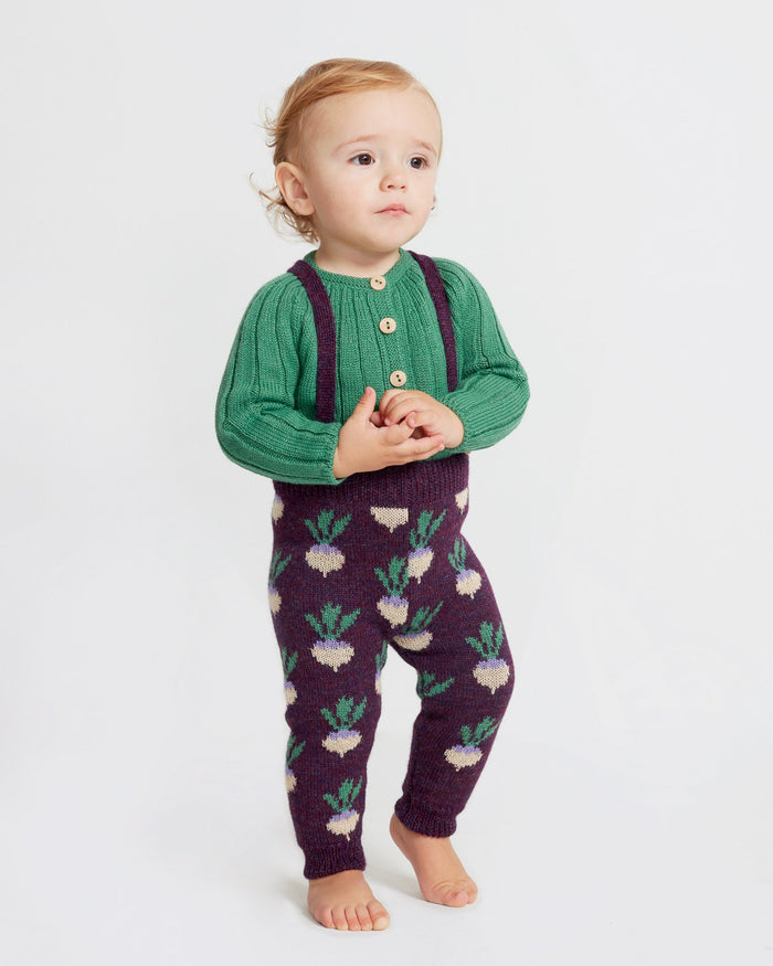 Little oeuf baby girl double suspender pants in mauve