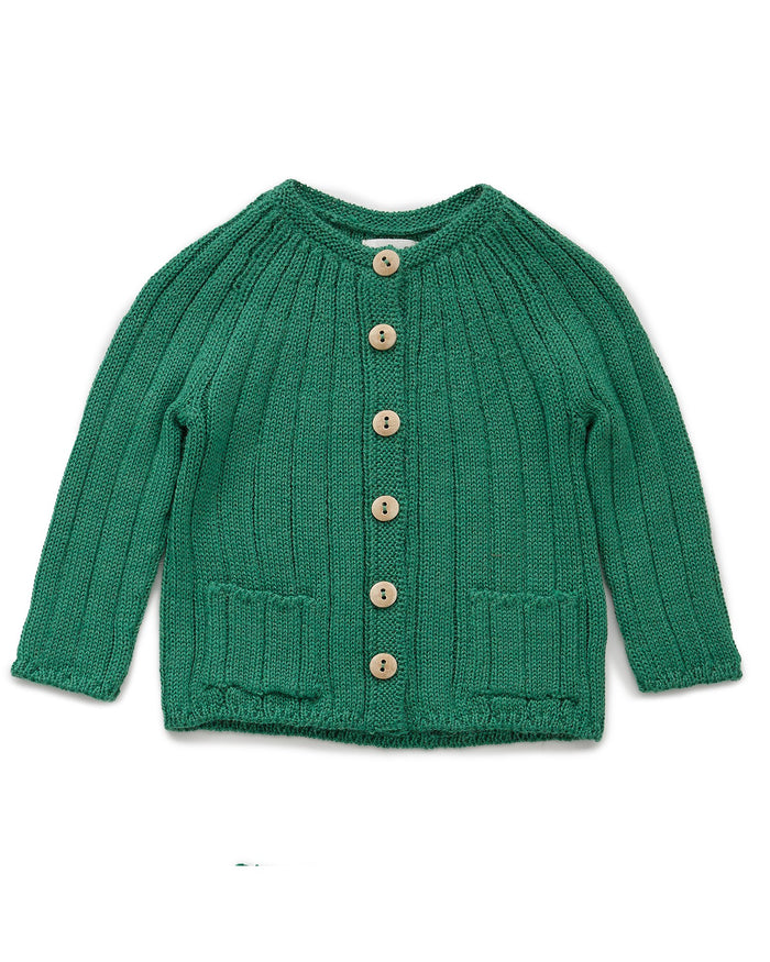 Little oeuf baby girl everyday cardi in grass green