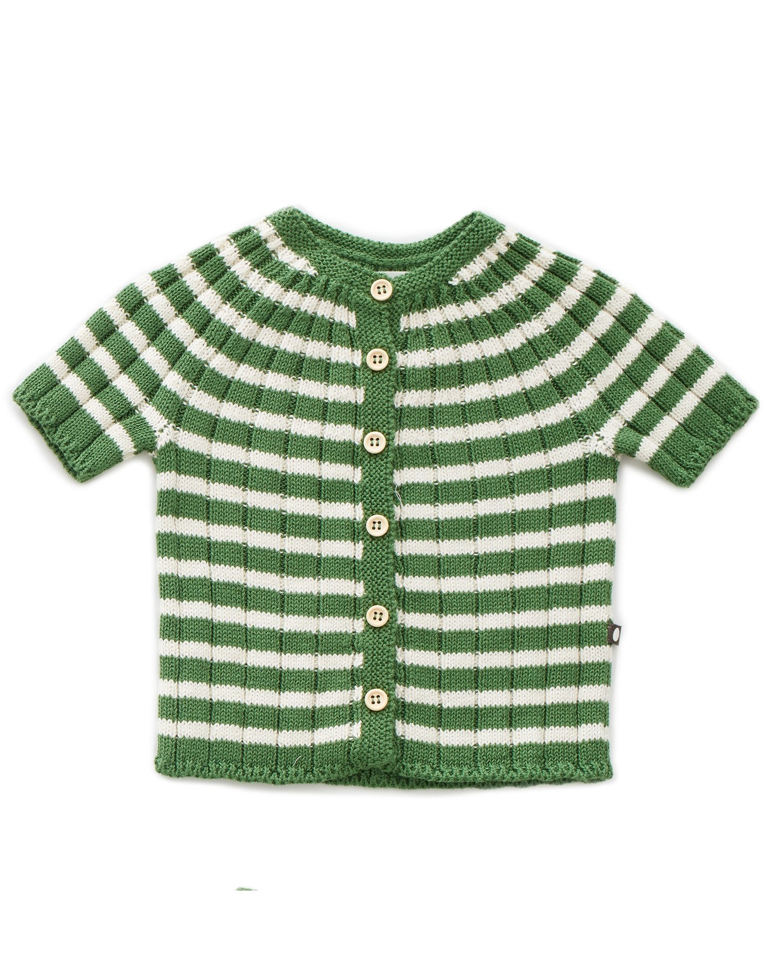 Little oeuf girl everyday cardi in green + white
