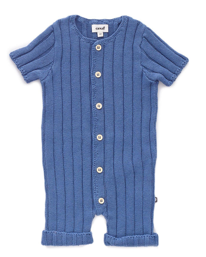 Little oeuf baby boy 6m everyday romper in blue