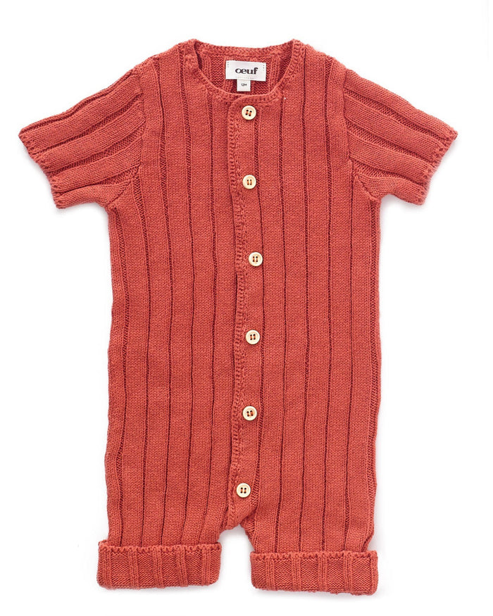 Little oeuf baby boy everyday romper in rust