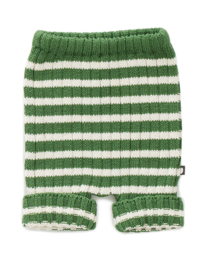 Little oeuf girl everyday shorts in green + white
