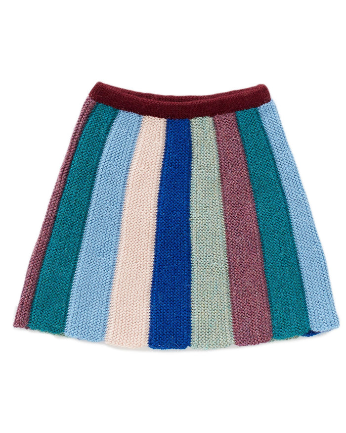 Little oeuf girl everyday skirt in teal multi