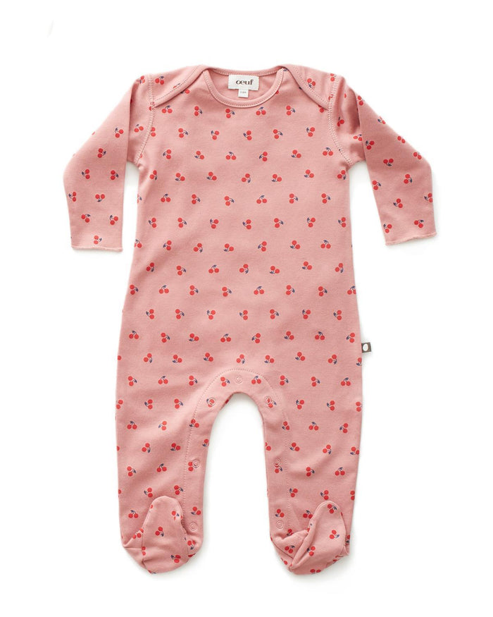Little oeuf layette 3m Footie Jumper in Dark Pink + Cherrie