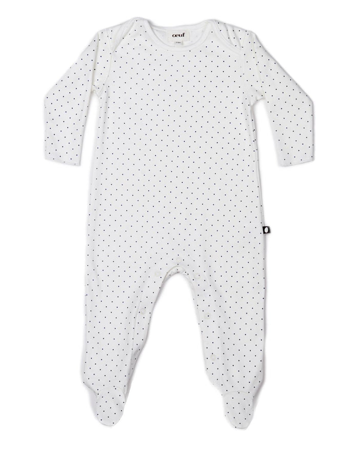 Little oeuf layette 3m Footie Jumper in White + Indigo Dots