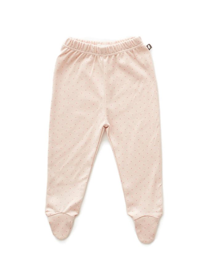 Little oeuf layette 3m Footie Pants in Light Pink + Rose Dots
