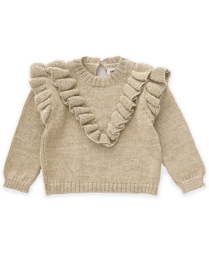 Little oeuf baby girl frou frou sweater in beige