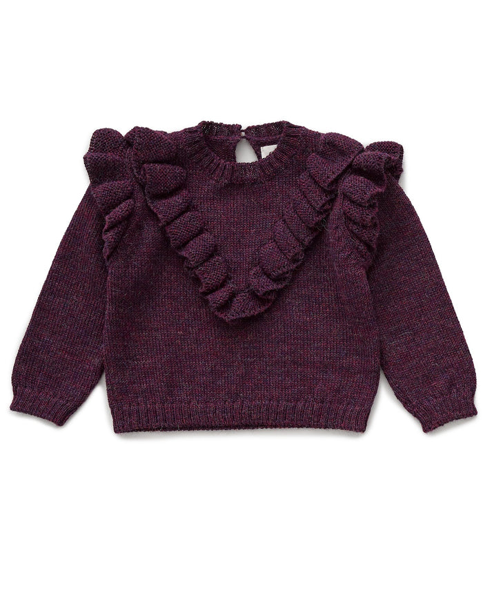 Little oeuf baby girl frou frou sweater in mauve