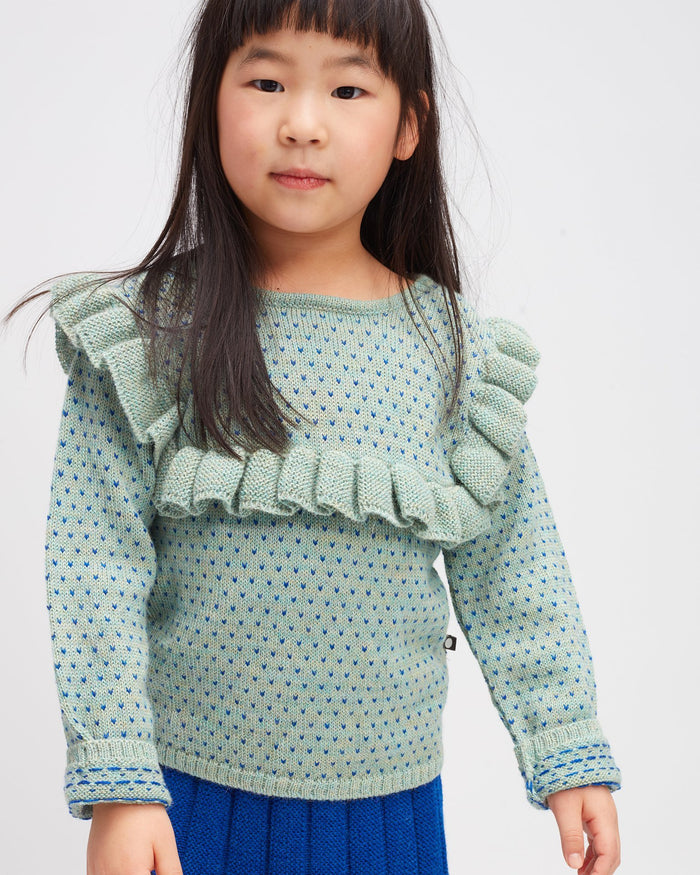 Little oeuf girl frou frou top in ocean + electric blue