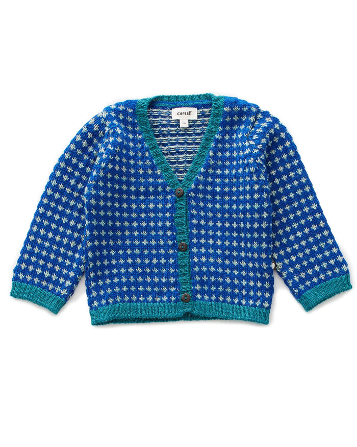 Little oeuf boy grandpa cardi in electric blue + ocean