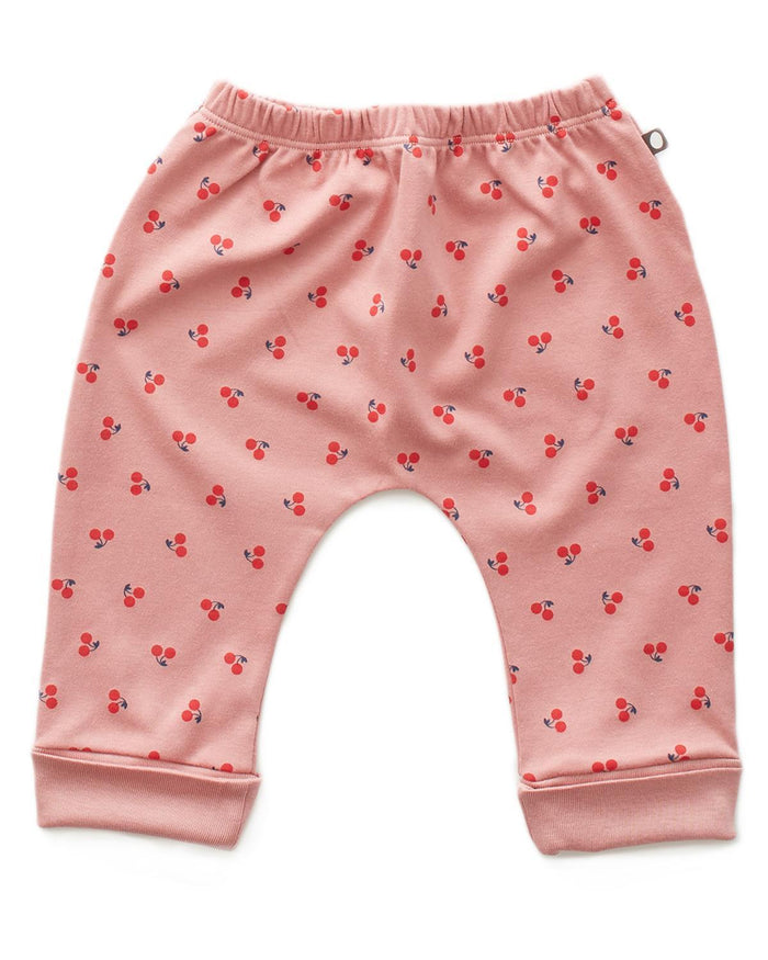 Little oeuf layette 3m Harem Pants in Dark Pink + Cherries