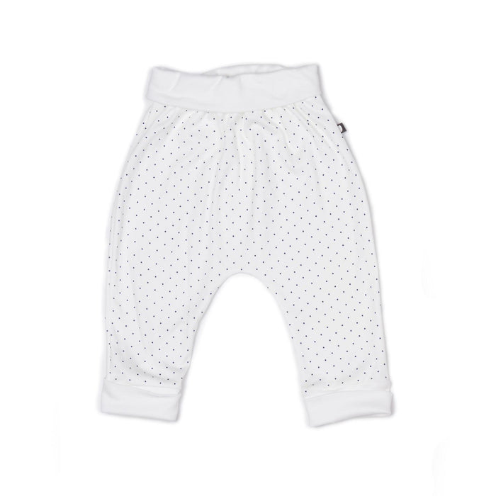 Little oeuf layette 3m Harem Pants in White + Indigo Dots