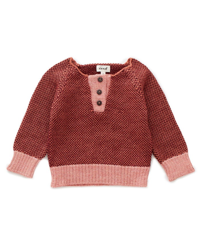 Little oeuf girl henley in apricot + burgundy