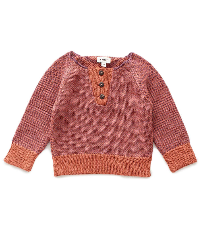 Little oeuf girl henley in mauve + apricot