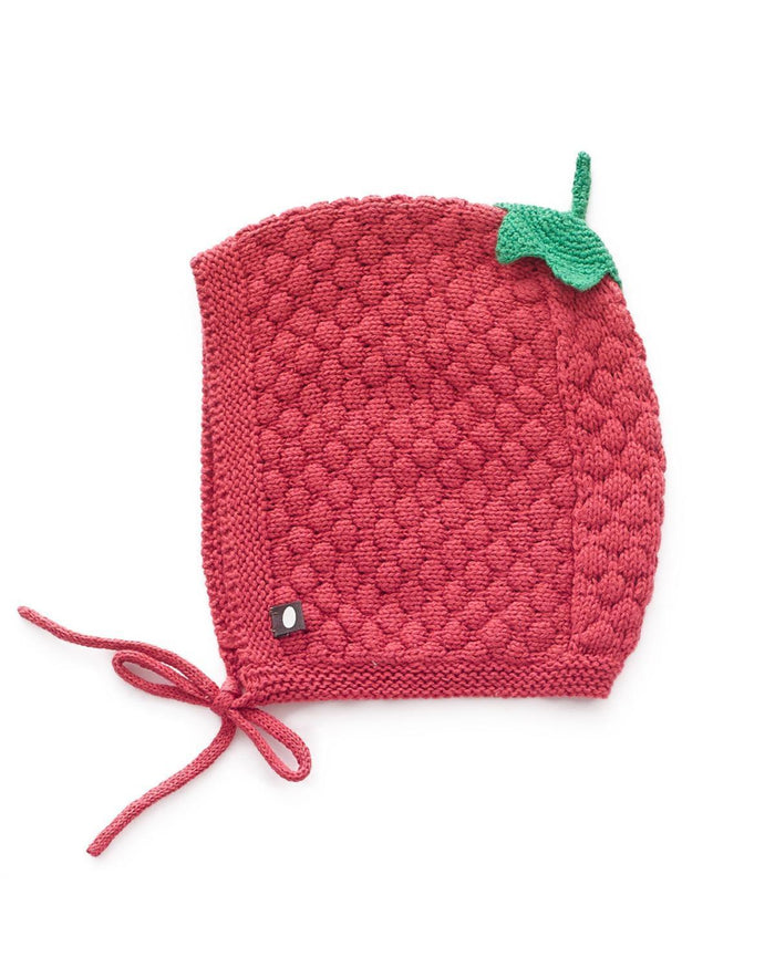 Little oeuf baby accessories 6m honeycomb knit hat in cranberry