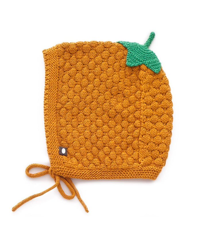 Little oeuf baby accessories 6m honeycomb knit hat in ochre