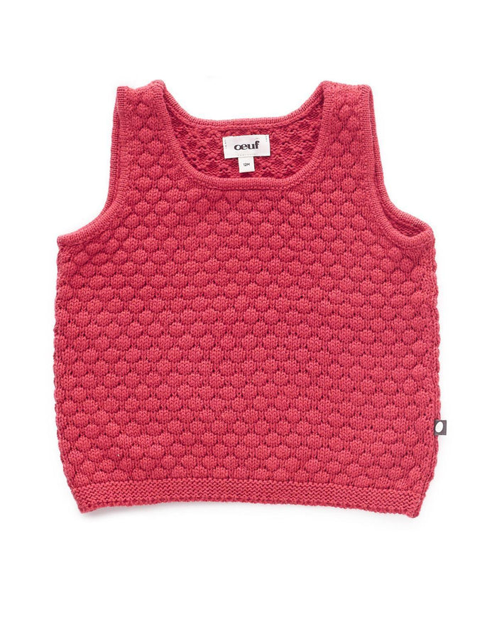 Little oeuf girl 2 honeycomb knit tank  in cranberry