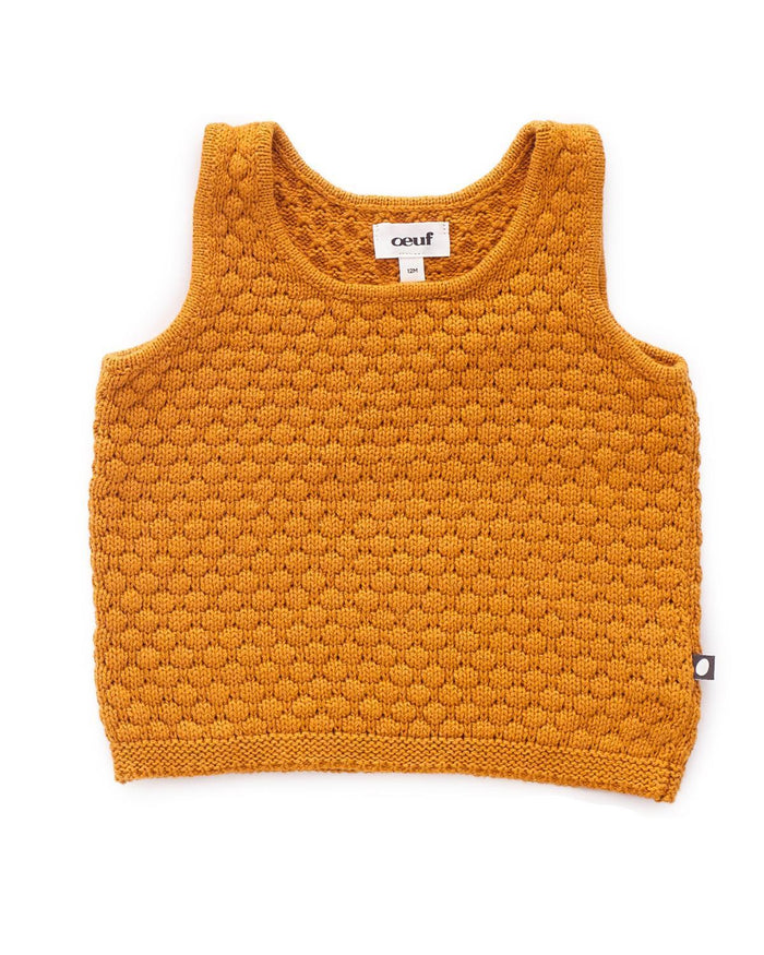 Little oeuf girl 2 honeycomb knit tank  in ochre