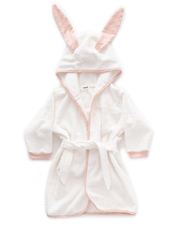 Little oeuf room 12m hooded robe in light pink + rust dots