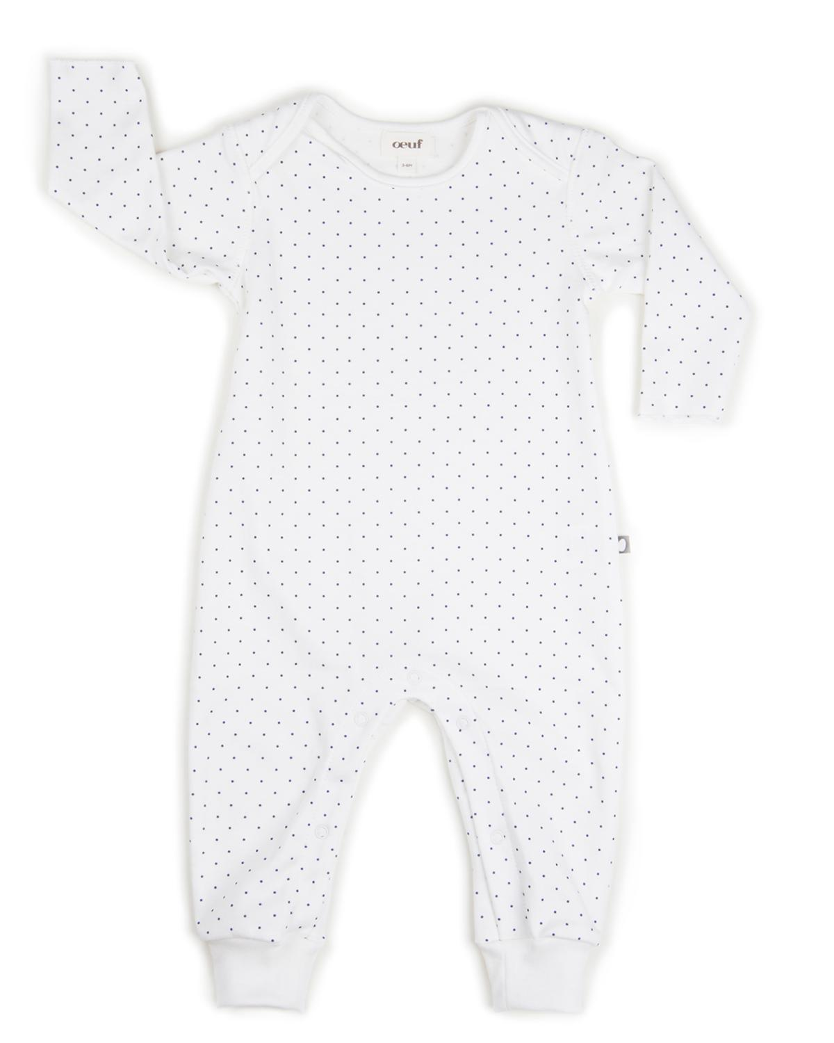 Little oeuf layette 3m Jumper in White + Indigo Dots
