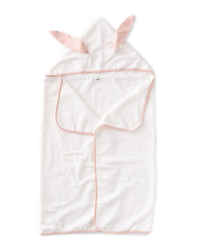 Little oeuf room kid hooded towel in rust dots